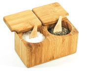 Bamboo Salt & Pepper Spice Box - 100% Organic Wood - Environmentally Friendly - 2 Part Pot for Herbs and Spices - Mantaro Products