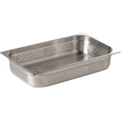 Vogue K841 Stainless Steel Perforated 1/1 Gastronorm Pan, 100 mm Height, 13.5 L Capacity