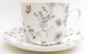 Secret Garden Breakfast Cup & Saucer Fine Bone China Large Cup & Saucer Hand Decorated in the U.K. Free UK Delivery