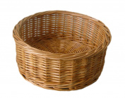 Red Hamper Round Straight Sided Wicker Tray, Brown, Small