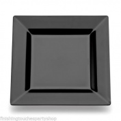 "60 Disposable Plastic Black Square Buffet Side Plates 7"" 18cm"