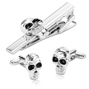 Gnzoe Stainless Steel Retro Gothic Style Skull Silver Black Men's Tie Clip and Cufflink Set