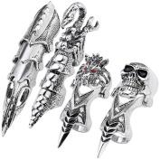 JOVIVI Gothic Punk Men's Full Finger Double Loop Ring Joint Armour Ring,4pcs