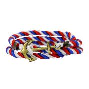 Vintage Nautical Anchor Charm Multiplayer Rope Twining Weave Nylon Rope Bracelet