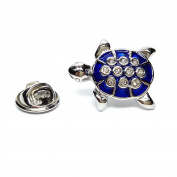 Blue & Crystal Turtle Lapel Pin Badge Gifts For Him