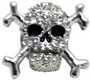 Silver Crystal Skull Tie Pin by Zennor