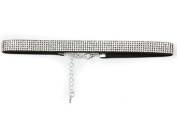 Mytoptrendz® 1cm Wide Black Suede Crystal Studded Choker Necklace with Extension chain Fashion Jewellery