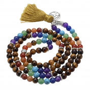 JSDDE 7 Chakra Buddhist Mala Prayer Beads 108 Meditation Healing Multilayer Bracelet/Necklace W/Tree of Life Tassel Charm