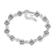 Hosaire 1X Charm Fashion Chequered White Diamond Bracelet Chain Silver For Women Girls