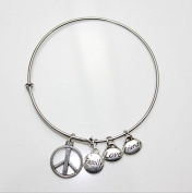 Alloy Bracelet With Peace Mark And Lettering Family Love Friend