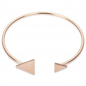 Sweetiee 18K Gold Plated Brass Bangle with Triangles Rose Gold Adjustable190mm for Woman