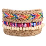 Demiawaking Unisex Mixed Bracelets Adjustable Handmade Multi Strand Braided Bracelets Hemp Rope Wristbands Wooden Beads Bracelet Wrist