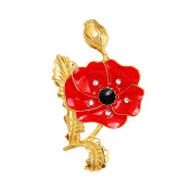 LANMPU Red and Gold Colour Poppy Brooches Crystal and Enamel Metal Pin
