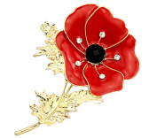 FENGJI Large Red Remembrance Poppy Pin Brooch Banquet Crystal Gold Plated Flower Badge Gift