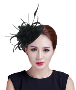 Lukis Women Bridal Fascinator Flower Hat Feather Head Clip For Party Wedding Brooch Pin