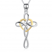 YFN Women Jewellery 925 Sterling Silver Platinum Polished Eternal Classic Irish Celtic Knot Cross Pendant Necklace 46cm