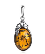 Honey Amber Sterling Silver Small Grape Pendant