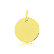 Jewelco London Solid 9ct Yellow Gold Flat Round Disc Dog Tag Medallion Pendant - 13mm