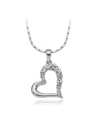 White Big Heart Pendant Necklace Made With Austrian Crystal 18K White Gold Plated