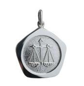 Silver 21mm five sided Libra Zodiac Pendant
