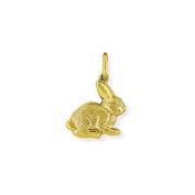 Jewelco London 9ct Yellow Gold Fur Textured Bunny Rabbit Hollow Charm Pendant 15 x 23mm