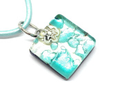 Murano Glass Pendant - Dainty 1.5cm x 1.5cm on Silver Leaf - Includes Gift Bag