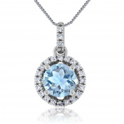 Vorra Fashion 925 Sterling Silver Pendant Aquamarine Love Necklace with 46cm Chain for Women