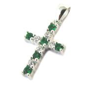 Silver pendant 'Croix'emerald green white silver (rhodium).