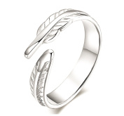 iszie jewellery sterling silver small . feather ring ,adjustable open feather ring