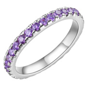 HMILYDYK Platinum-Plated Round Cut Cubic Zirconia Stacking Eternity Ring with Purple Amethyst Crystal