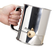 Stainless Steel Hand-Crank Flour Sifter - Generous 5 Cup Capacity - 4-Wire Agitator - Fine Mesh Sieve - Traditional Polished-Finish Design - Lightweight And Strong Icing Sugar Aerator/Grinder/Shaker