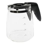 4YourHome Glass Coffee Machine Jug and Lid, Black/Clear