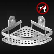 Ecooe Bathroom Shelf Shower Basket Aluminium Alloy Bathroom Corner Storage Shelf with Hooks No Drilling