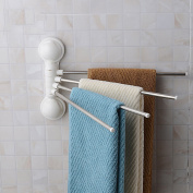 Towel Rack 180° Free Rotation Stainless Steel 4 Bar Towel Holder with Suction Cup, Do without Nail or Drill, Strong Adsorbability