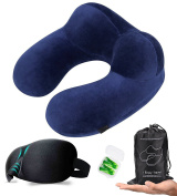 HASAGEI Travel Neck Pillows for Aeroplane Inflatable Flight Pillow with 3D Eye Mask and Ear Plugs