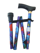 Flower Folding Walking Stick Height Adjustable with Wood handle, wrist strap and Extra Free rubber ferrule