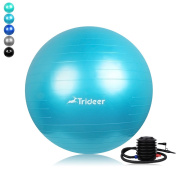 Exercise Ball (Multiple Sizes / Colours) with Quick Pump, Trideer Extra Thick 910kg Anti-Burst & Anti-Slip Swiss Ball, Ball Chair, Birthing Ball