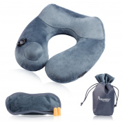 SYOURSELF Travel Neck Pillow & Eye Mask -Soft Velvet, U-Shaped, Inflatable, Comfortable Neck Chin Support Push-Bottom Pillows-Perfect for Aeroplanes, Trains, Cars, Office+ Earplugs, Packsack