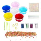 Kids Toys Soft Slime DIY Slime Kit, JIM'S STORE 6 Pack Non-toxic Crystal Magic Plasticine Toys with 5000PCS Colourful Foam Balls, 2500PCS Fruit Face Decoration, 4 Glitter Shaker Jars(Colour random)