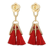 Gluckliy Beautiful Elegant Bohemia Tassel Earrings Statement Stud Earrings Party Jewellery Accessories for Women, Red