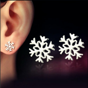 Youmei® Silver Jewellery Snowflake Ear Studs Earrings for Women Girl Anti-allergy and No Discoloration