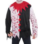 New Amscan Mens Halloween Evil Clown Bloody Splatter Shirt Fancy Dress Top