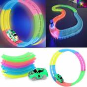 HARRYSTORE Car Track with 2 LED Glowing Race Track, Race Cars Toy 240 Pcs Flexible Variable Track Set Glow in the Dark for Kids