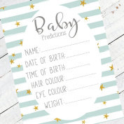 Baby Shower Game - Pack of 10 Blue Stripe & Gold Stars by Prediction Cards - Guess The Weight/Date Chevron Design