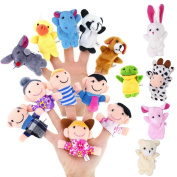 Finger Puppets Set, D & & R 16 PCS of 6 Pieces Happy Family Member with 10 Pieces Animal Puppet Set Educational Toys for Babies Children Kids