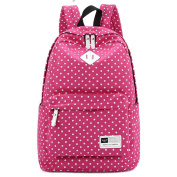 S-ZONE Lightweight Casual Daypack Canvas Polka Dot Backpack 36cm - 38cm Laptop PC School Bag for Teenage Girls