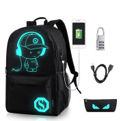 GAOAG Anime Luminous Backpack Daypack Shoulder Under 40cm with USB Charging Port and Lock School Bag Black