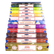 Genuine Satya Sai Baba - Nag Champa Variety Mix Set AC 12 X 15gram Boxes Of Incense, Includes Nag Champa, Super Hit, Blessings, Celestial, Fortune, Jasmine Blossom, Oodh, Patchouli Forest, Rainforest , Romance, Sandalwood, Sunrise
