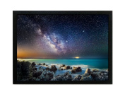 Cufun art – Outer Space Starlight and Sea Shore Photos Prints on Canvas Wall Decoration with Black Frame 12×41cm