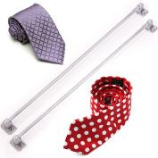 2x Long Polished Chrome Tie / Belt Rail